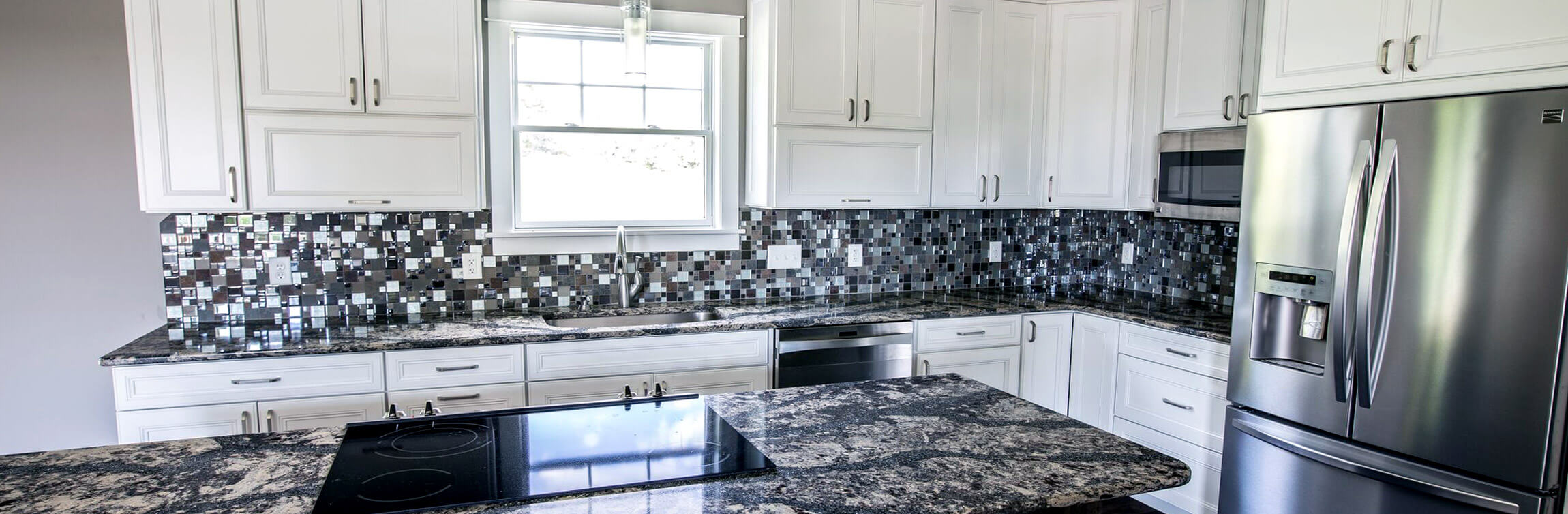 Delightful Custom Residential Kitchen Featuring Solid Wood Cabinets With A White  Finish, Glass Tile Backsplash,